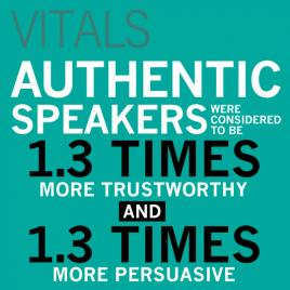 VITALS: Authentic speakers were considered to be 1.3 times more trustworthy and 1.3 times more persuasive.