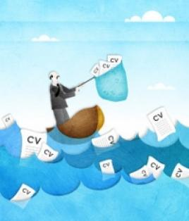 Illustration of man catching CVs with a net in a lake
