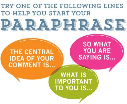 Try One of the Following Lines to Help You Start Your Paraphrase: The central idea of your comment is... So what you are saying is... What is important to you is...
