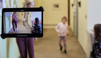 Stanford University researchers record video of Grace Wilsey walking on her own as part of a study cataloging the symptoms of NGLY1 deficiency. | Tom Hood