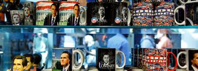 Mitt Romney and Barack Obama mugs