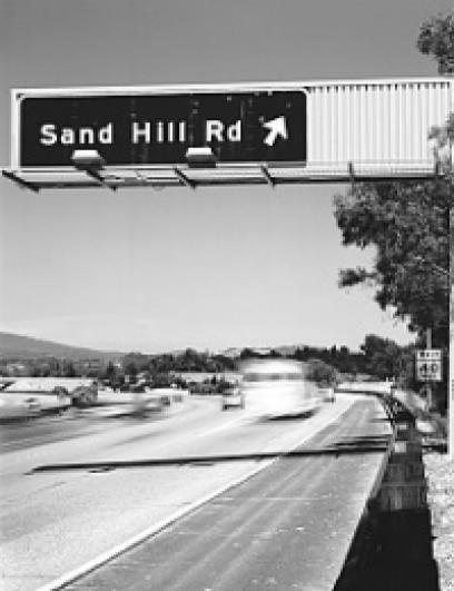 Highway sign for Sand Hill Road exit